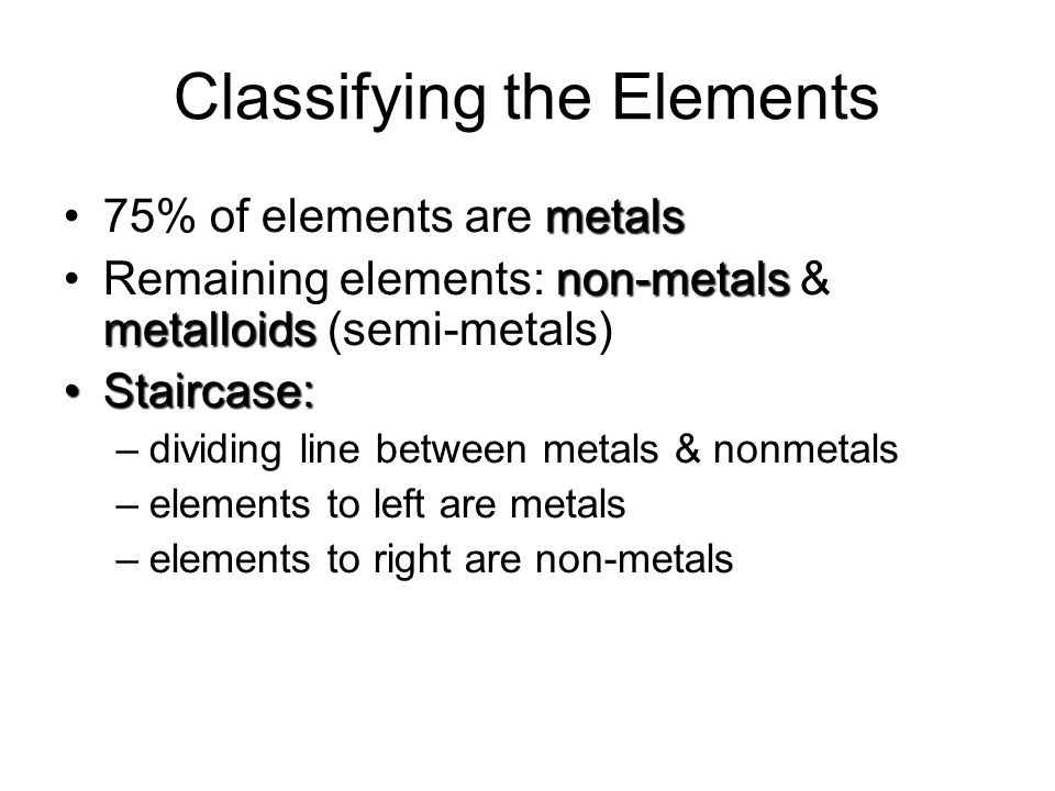 Classifying the Elements