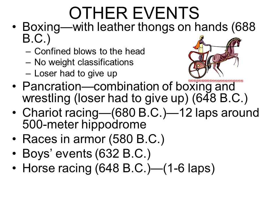 OTHER EVENTS Boxing—with leather thongs on hands (688 B.C.)