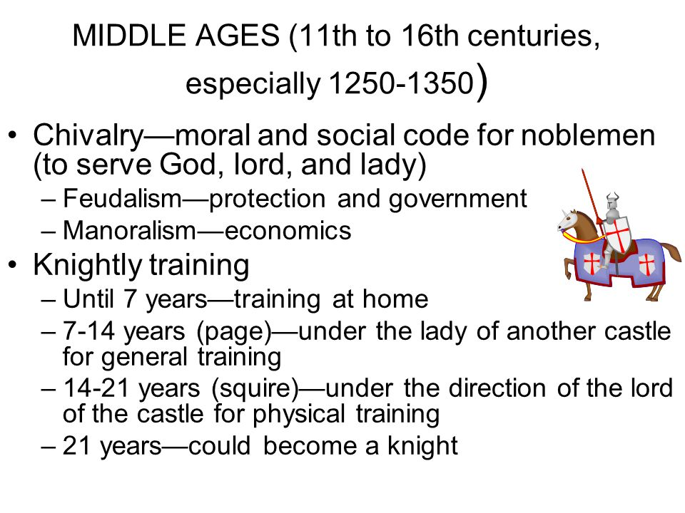 MIDDLE AGES (11th to 16th centuries, especially 1250-1350)