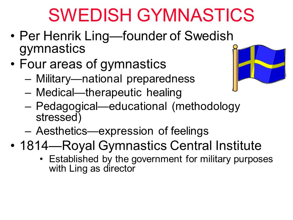 SWEDISH GYMNASTICS Per Henrik Ling—founder of Swedish gymnastics