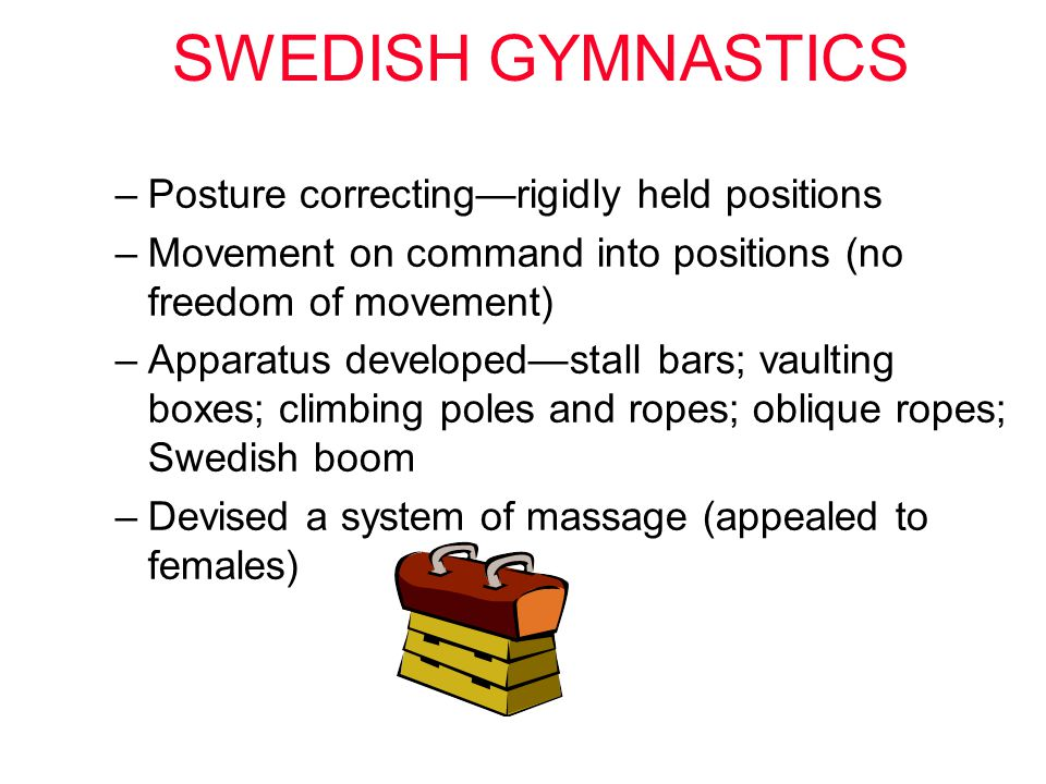 SWEDISH GYMNASTICS Posture correcting—rigidly held positions