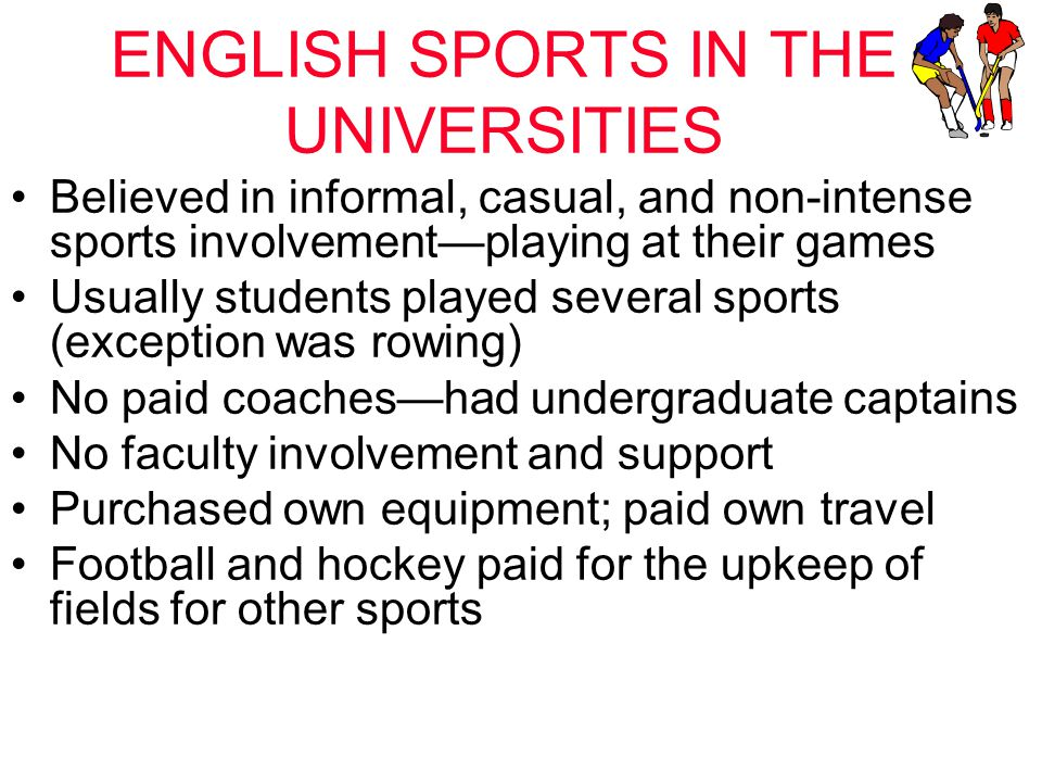 ENGLISH SPORTS IN THE UNIVERSITIES