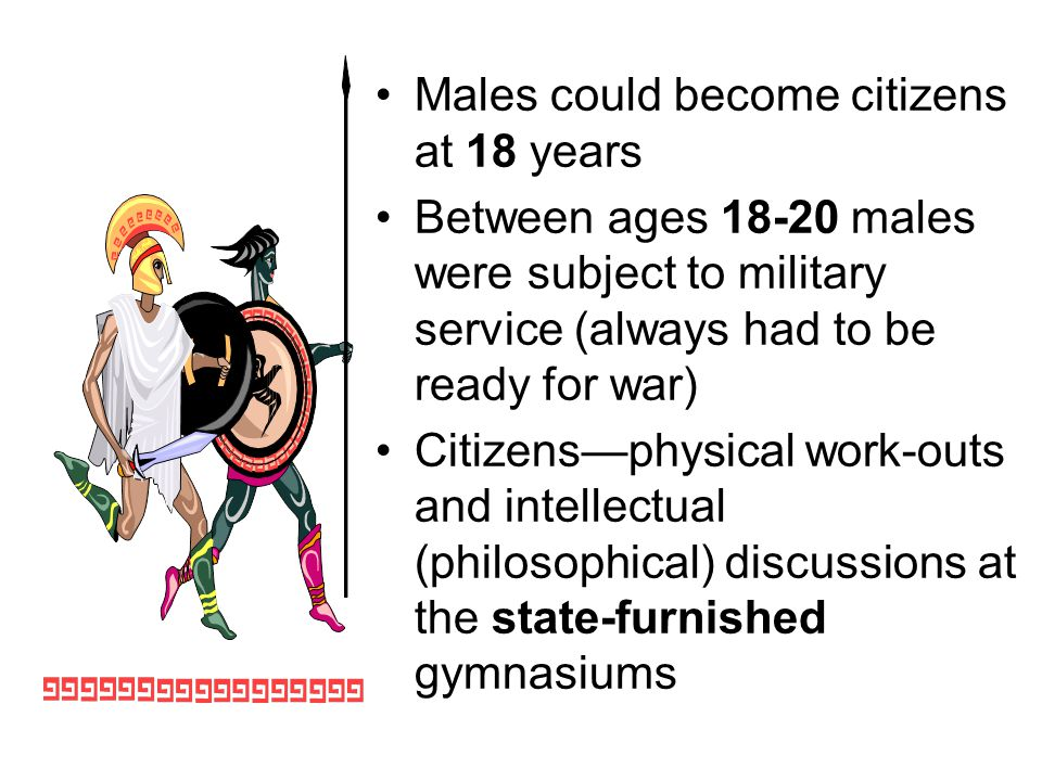 Males could become citizens at 18 years