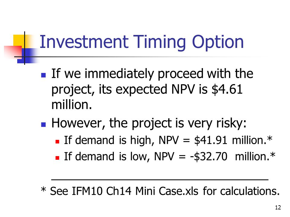 Investment Timing Option