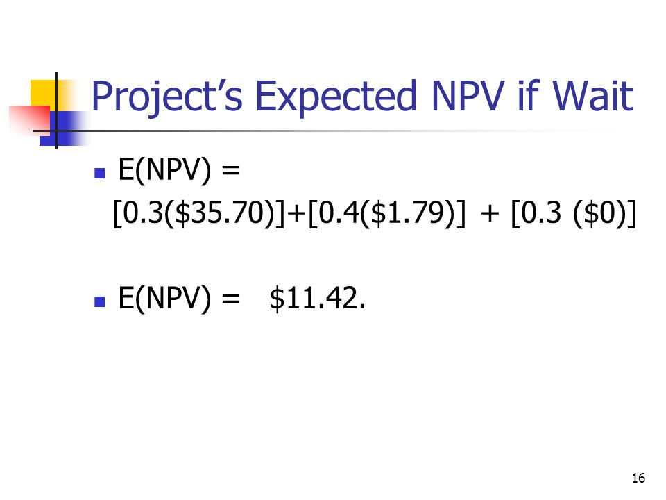Project's Expected NPV if Wait