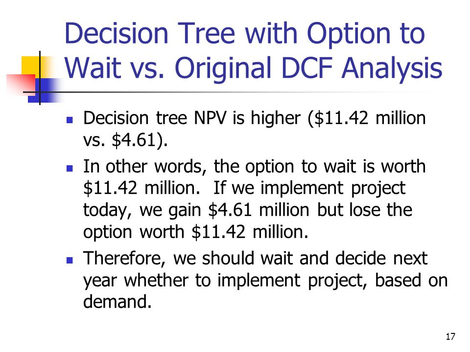 Decision Tree with Option to Wait vs. Original DCF Analysis