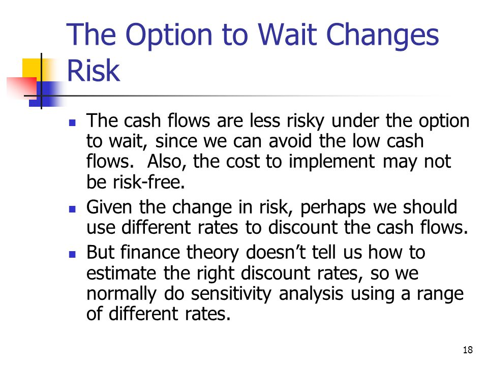 The Option to Wait Changes Risk