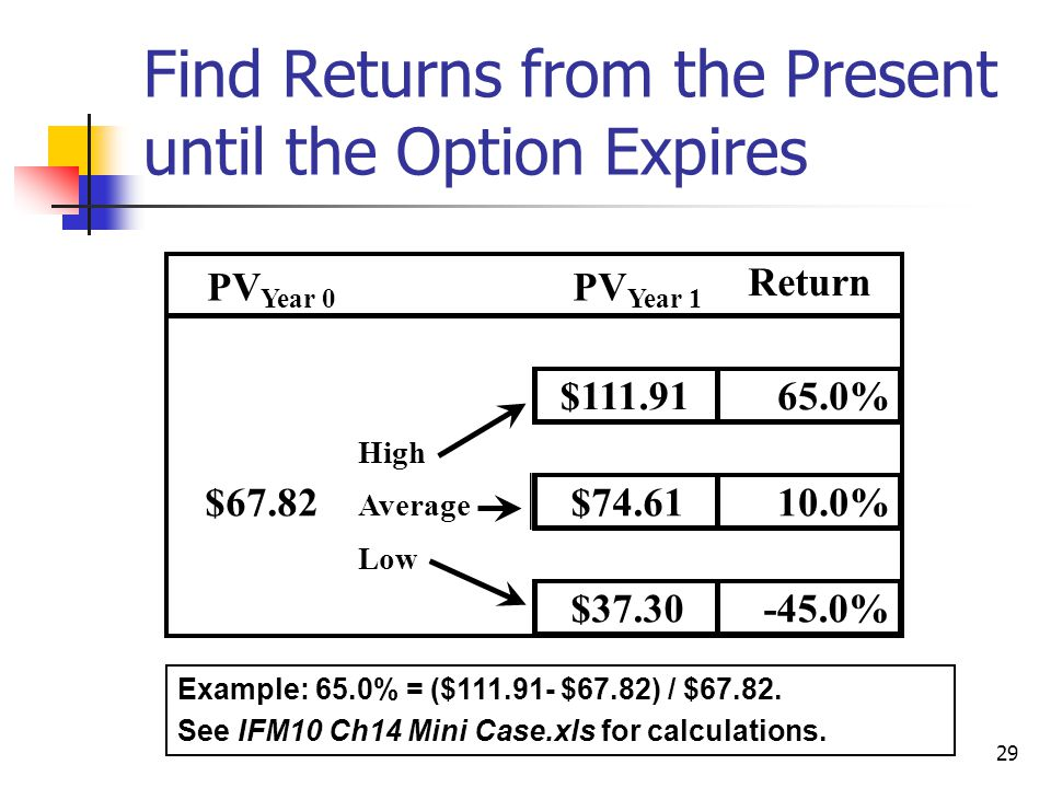Find Returns from the Present until the Option Expires