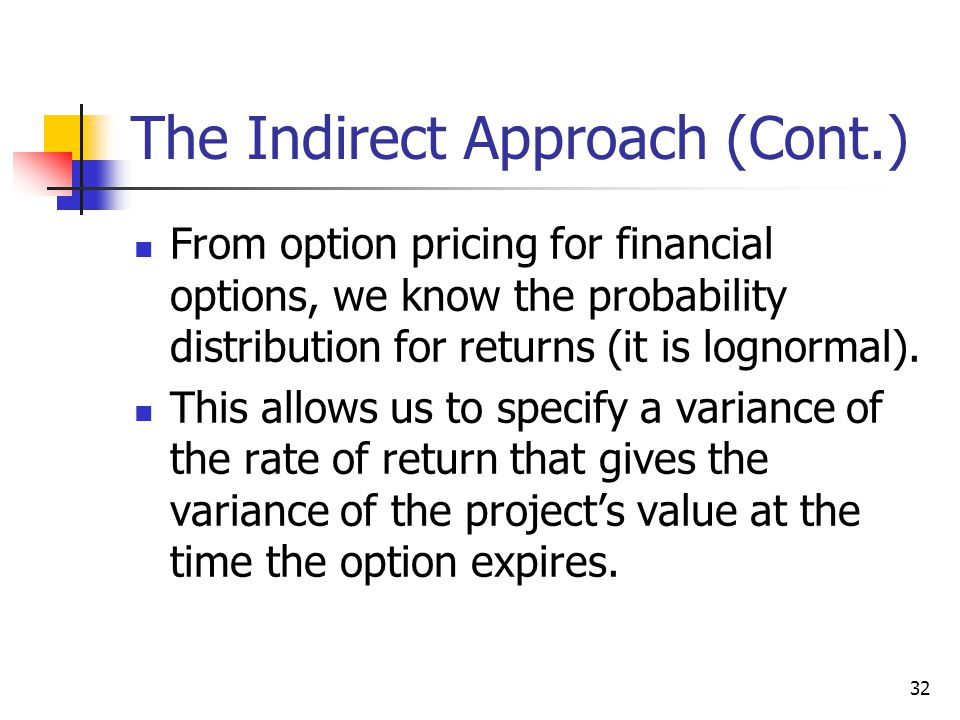 The Indirect Approach (Cont.)