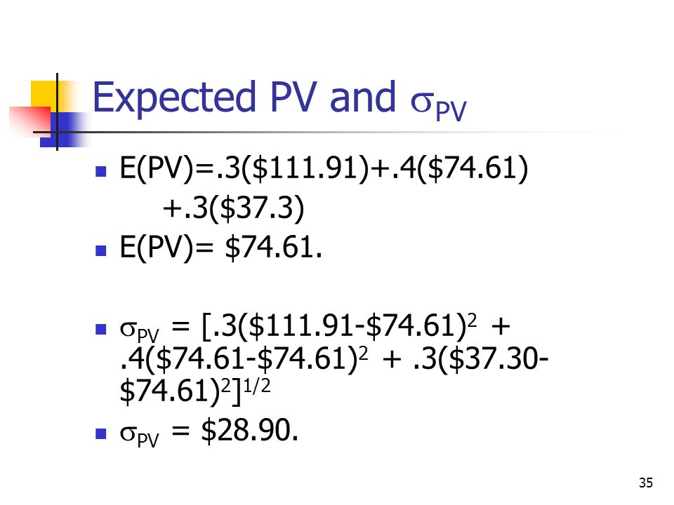 Expected PV and PV E(PV)=.3($111.91)+.4($74.61) +.3($37.3)