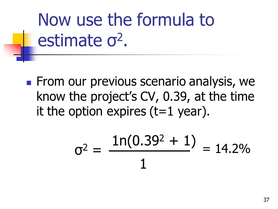 Now use the formula to estimate σ2.