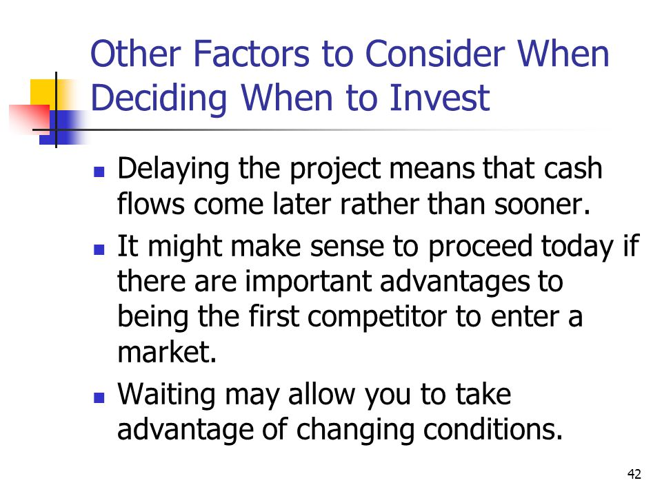 Other Factors to Consider When Deciding When to Invest