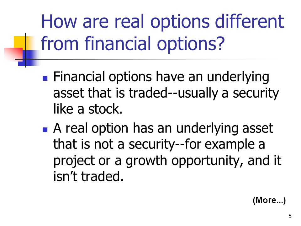 How are real options different from financial options