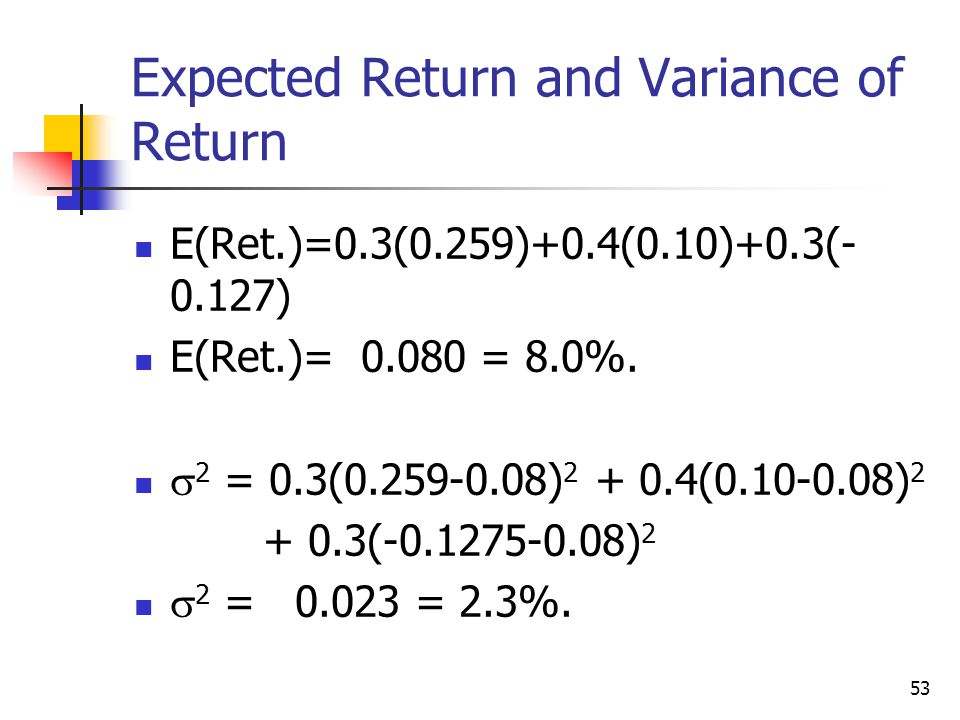 Expected Return and Variance of Return