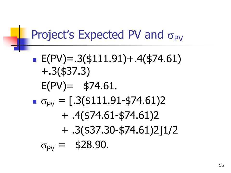 Project's Expected PV and PV