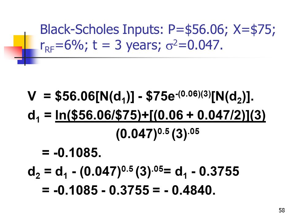 Black-Scholes Inputs: P=$56.06; X=$75; rRF=6%; t = 3 years; s2=0.047.
