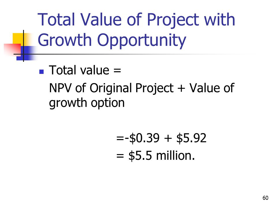 Total Value of Project with Growth Opportunity