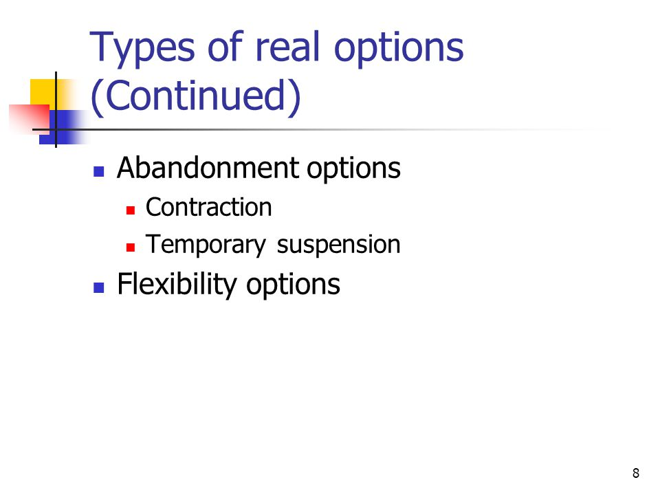 Types of real options (Continued)