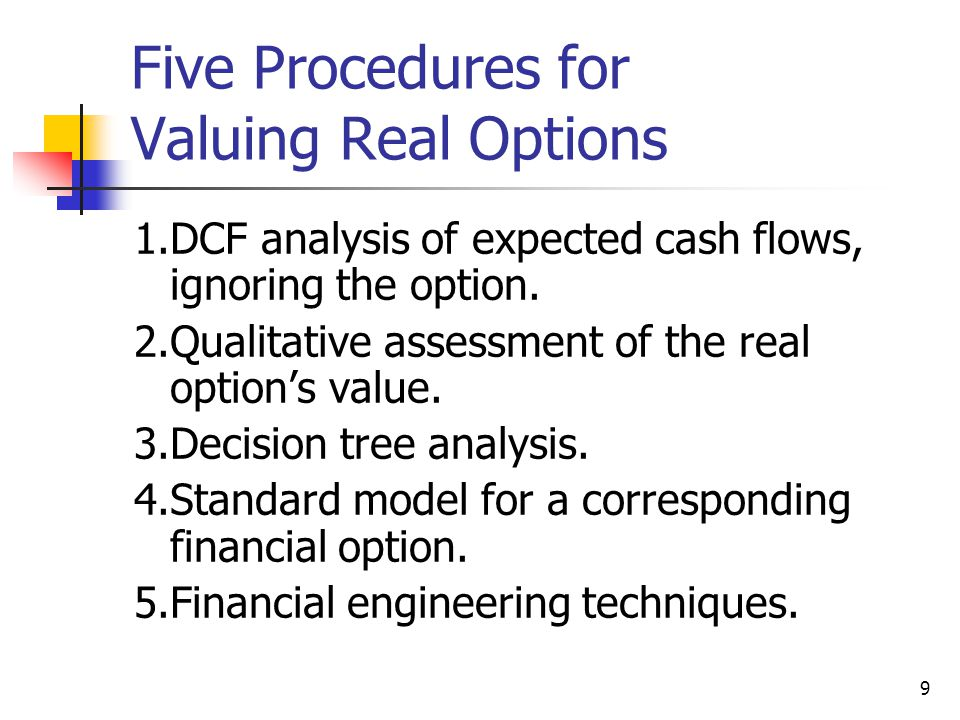 Five Procedures for Valuing Real Options