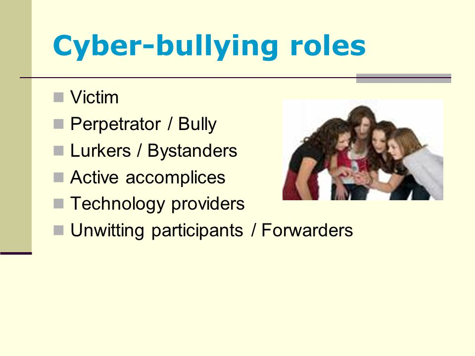 Cyber-bullying roles Victim Perpetrator / Bully Lurkers / Bystanders