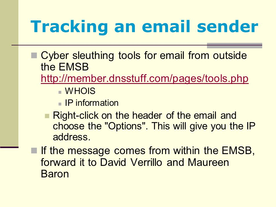 Tracking an email sender