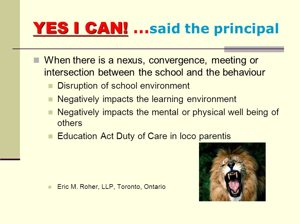 YES I CAN! …said the principal