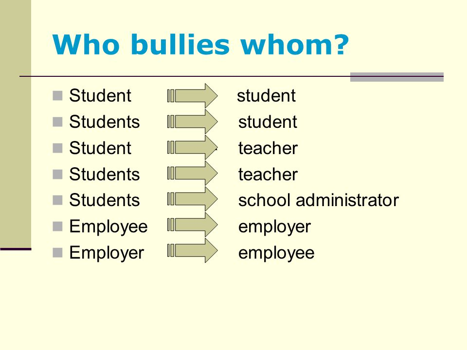 Who bullies whom Student student Students student Student teacher