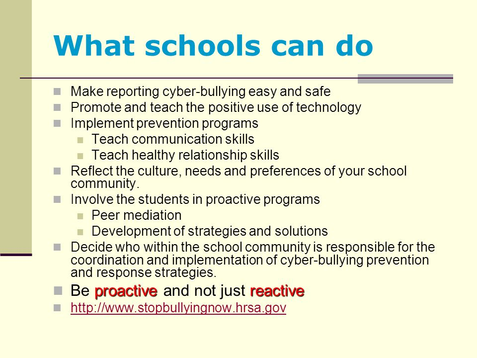 What schools can do Be proactive and not just reactive