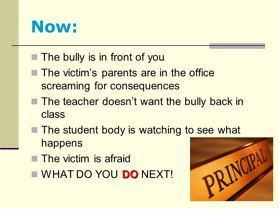 Now: The bully is in front of you