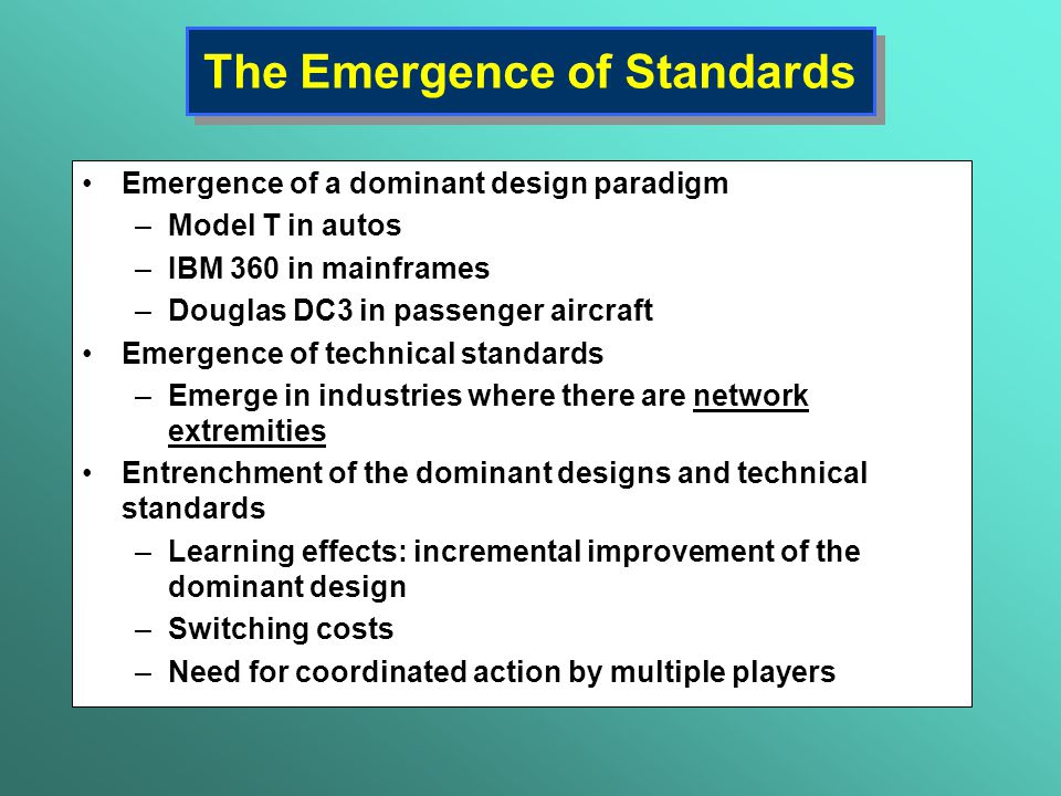 The Emergence of Standards
