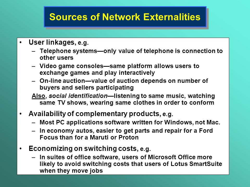 Sources of Network Externalities