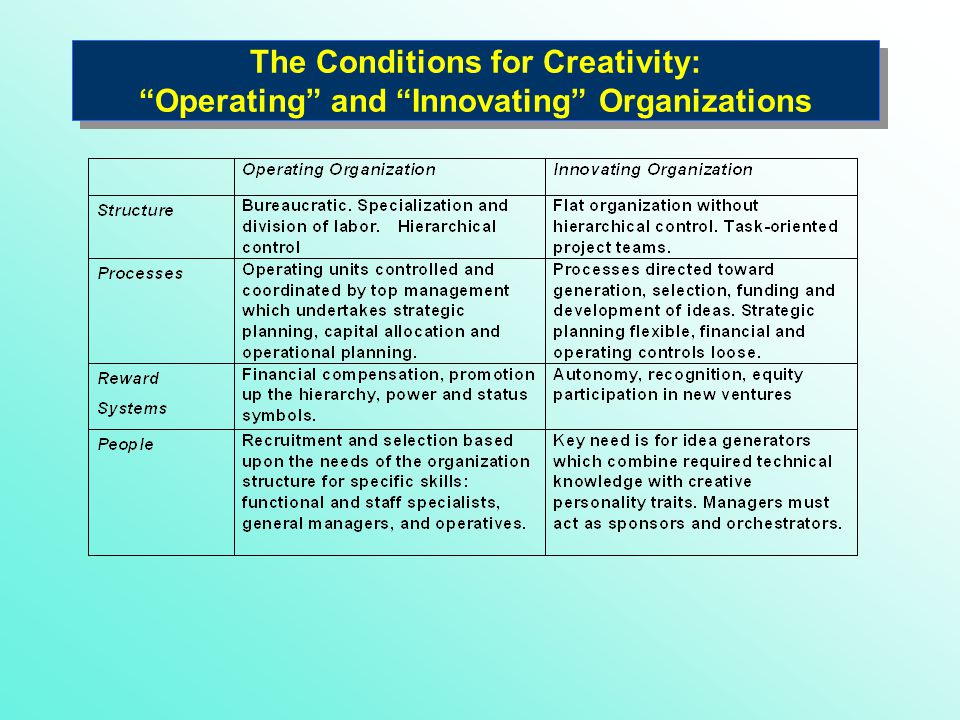 The Conditions for Creativity: Operating and Innovating Organizations