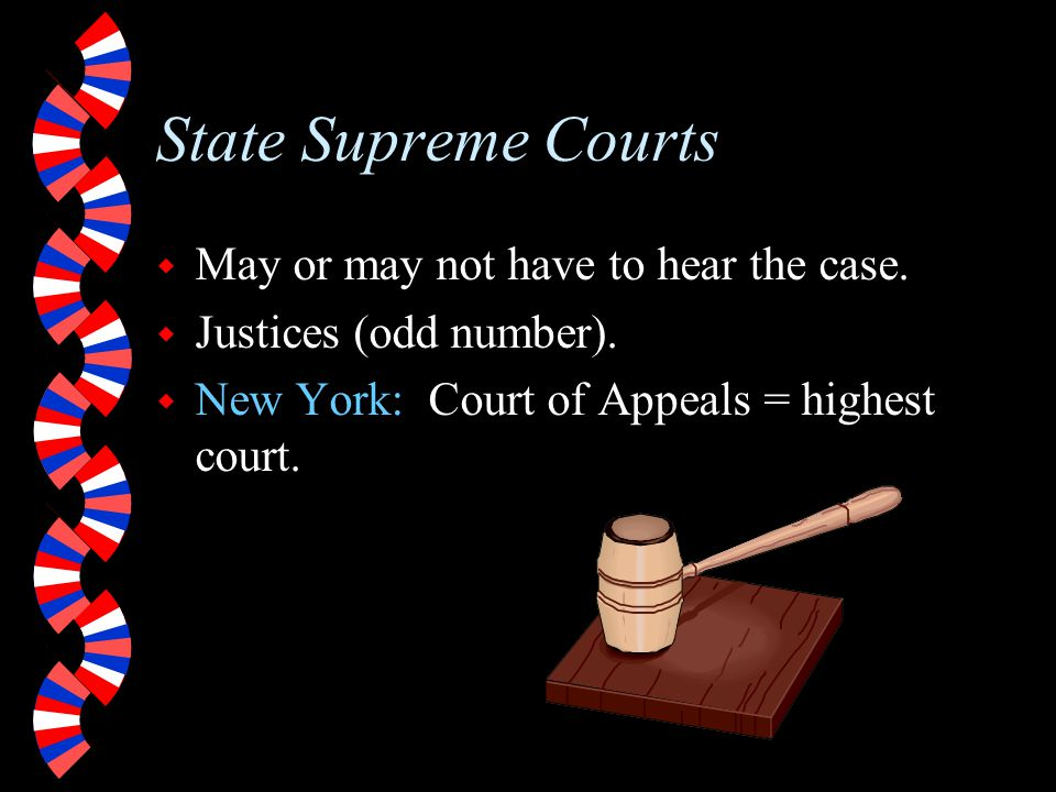 State Supreme Courts May or may not have to hear the case.