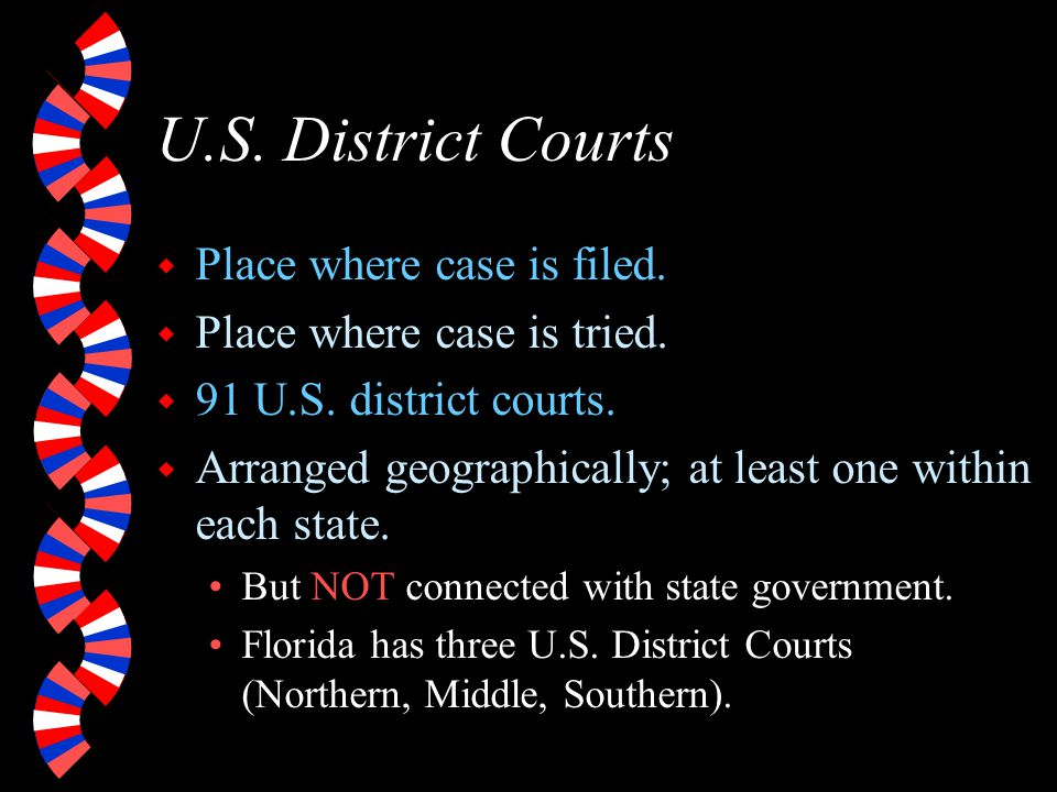 U.S. District Courts Place where case is filed.