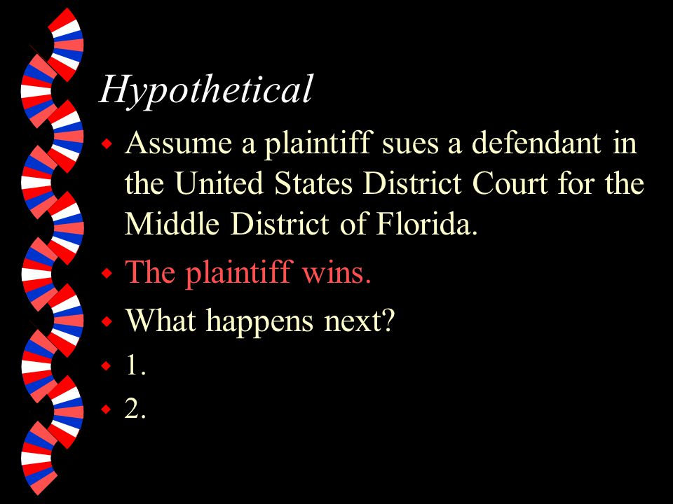 Hypothetical Assume a plaintiff sues a defendant in the United States District Court for the Middle District of Florida.