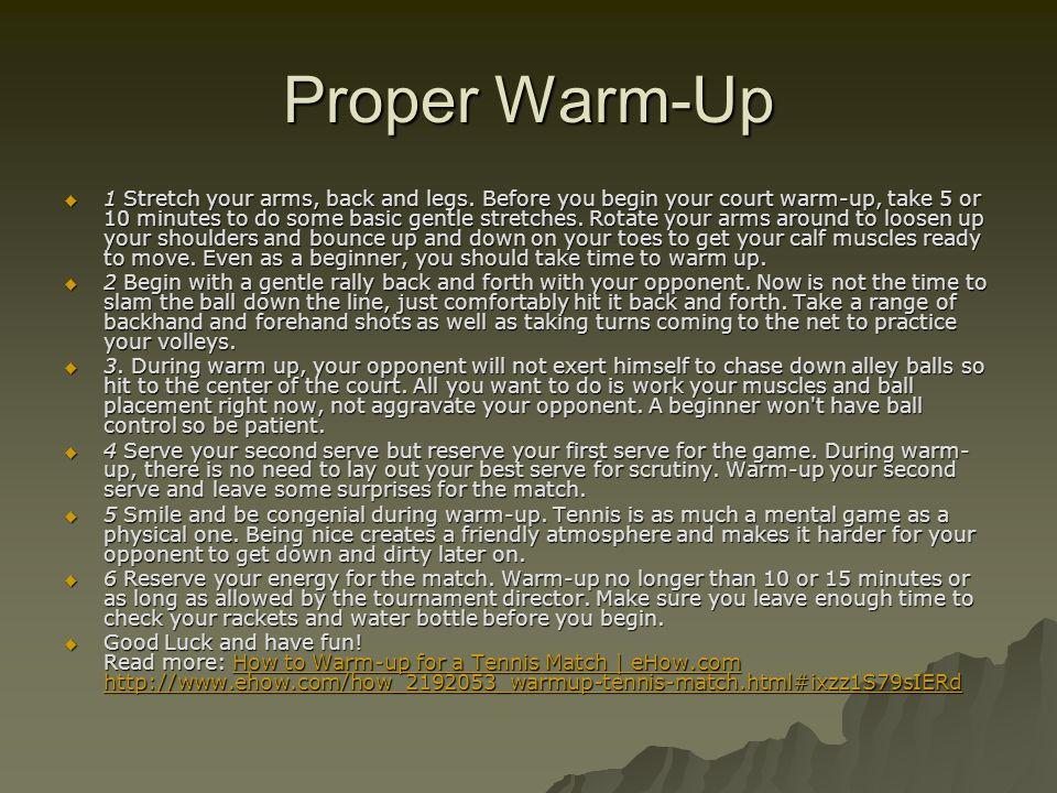Proper Warm-Up