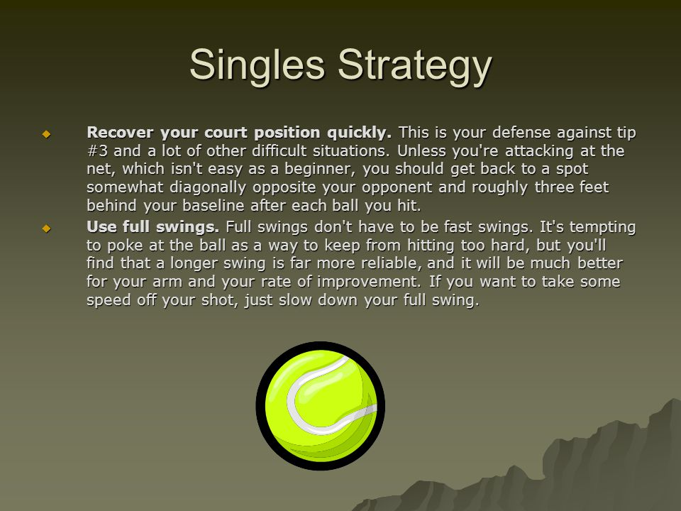 Singles Strategy