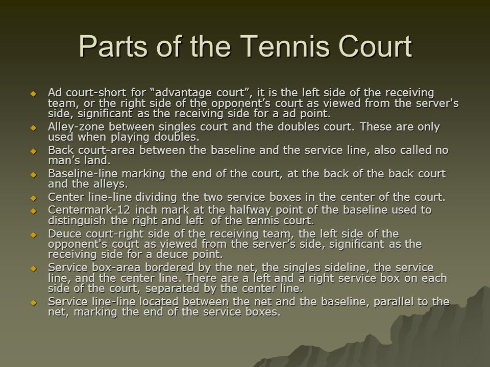 Parts of the Tennis Court