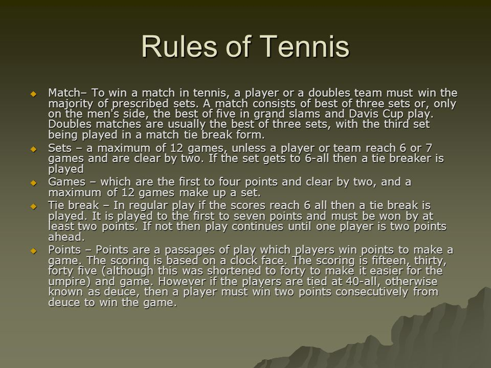 History and rules of tennis