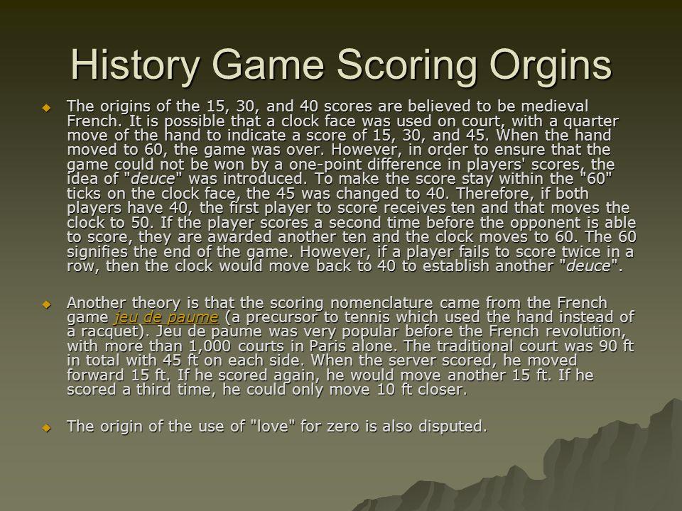 History Game Scoring Orgins