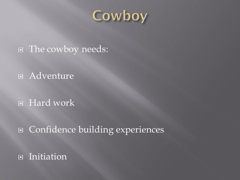 Cowboy The cowboy needs: Adventure Hard work