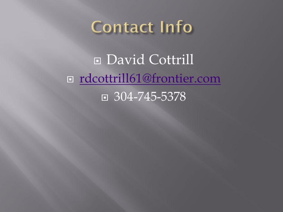 Contact Info David Cottrill rdcottrill61@frontier.com 304-745-5378