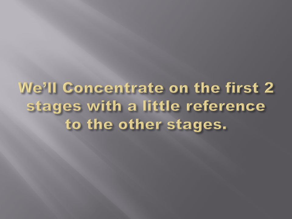 We'll Concentrate on the first 2 stages with a little reference to the other stages.