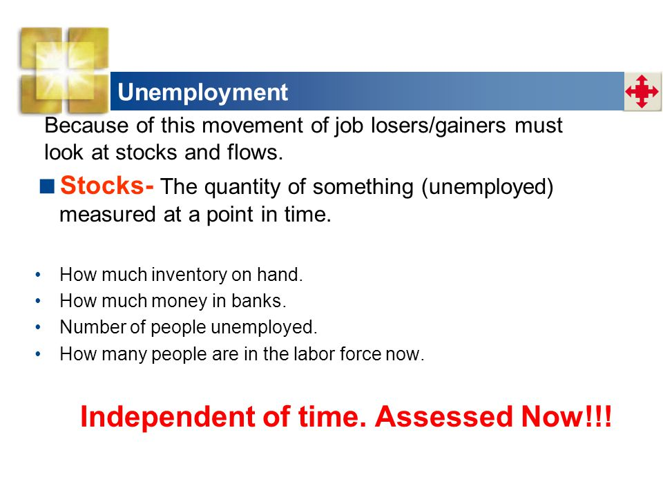 Unemployment Because of this movement of job losers/gainers must. look at stocks and flows.