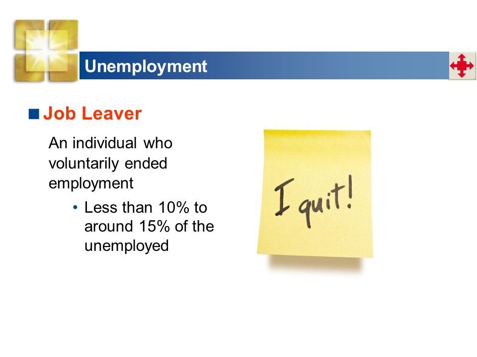 Job Leaver Unemployment An individual who voluntarily ended employment