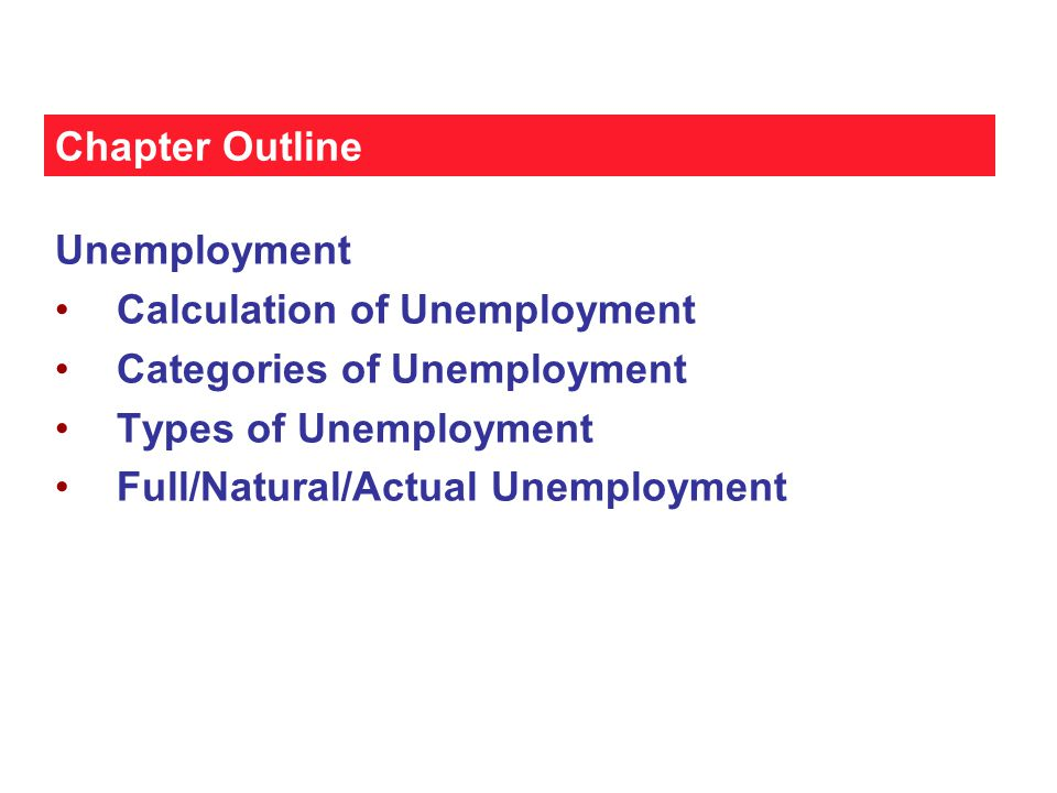 Chapter Outline Unemployment. Calculation of Unemployment. Categories of Unemployment. Types of Unemployment.