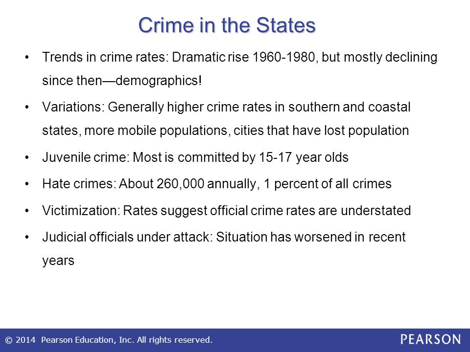 Crime in the States Trends in crime rates: Dramatic rise 1960-1980, but mostly declining since then—demographics!