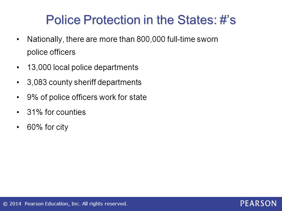 Police Protection in the States: #'s