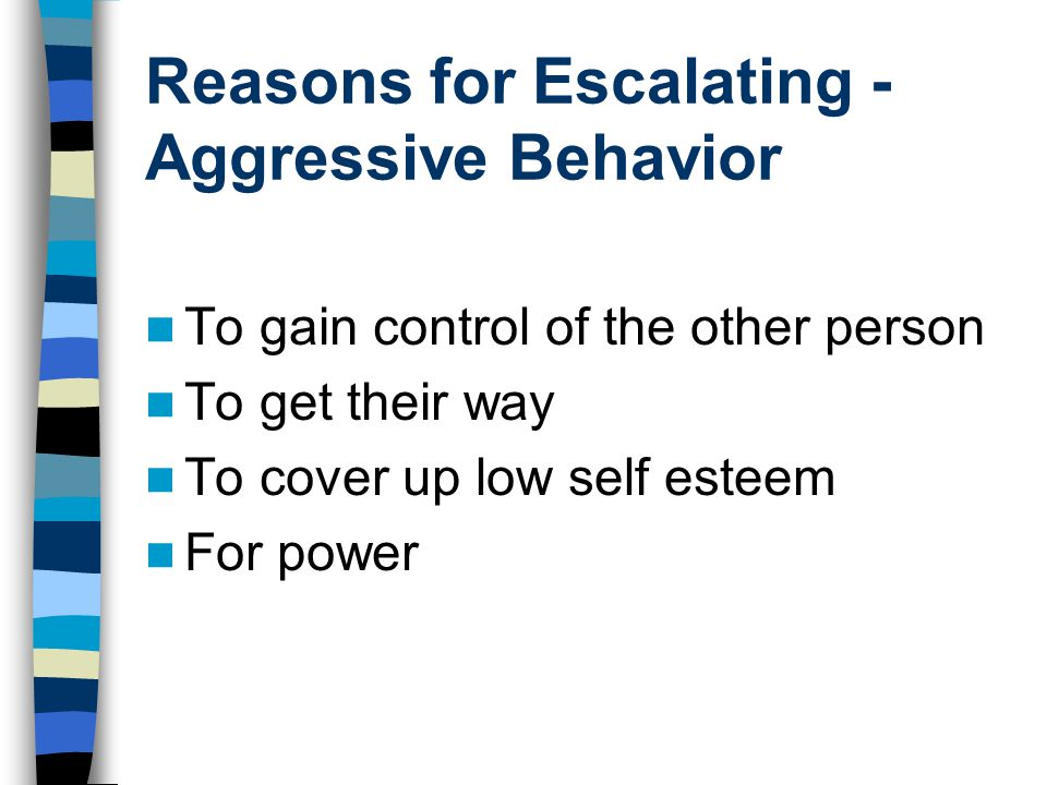 Reasons for Escalating - Aggressive Behavior