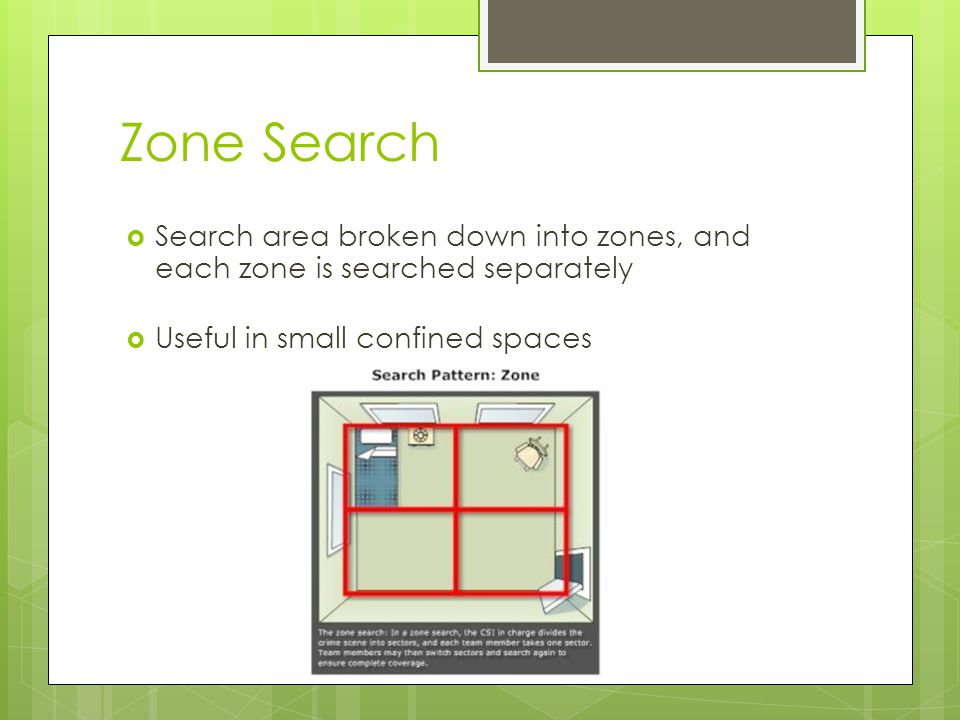 Zone Search Search area broken down into zones, and each zone is searched separately.